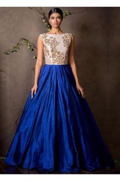 Blue And White Embroidered Banglori Gown Indian Gowns, Indian Attire, Indian Outfits, Indian Wear, Indian Clothes, Tulle Gown, Silk Gown, Saris, Anarkali Gown