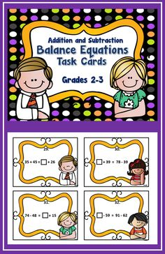 Addition & subtraction (within 100) balance equation task cards (32);  Great for independent work; math centers; Scoot...