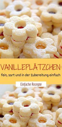 Vanilla biscuits: fine, tender and easy to prepare - ❤️ Dessert ❤️ - Cupcakes Fudge Recipes, Apple Recipes, Cheesecake Recipes, Cookie Recipes, Dessert Recipes, Vanilla Biscuits, Vanilla Cookies, Vanilla Sugar, Powdered Sugar