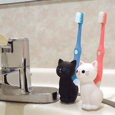 Cat Toothbrush Stand Holder / Black Cat / White Cat / Kitty Cute Kawaii Goods | eBay