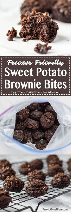 Freezer Friendly Sweet Potato Brownie Bites recipe - Sweet potato brownie bites are perfect to store in the freezer for your dessert cravings! Eggless + vegan options! - http://ProjectMealPlan.com