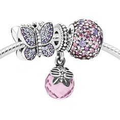 New Spring Pandora charms! Butterfly, pink, fun, color, bracelet.