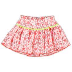 Mim-Pi rok - Hippe rok met (niet verstelbaar) elastiek achter in de taille in een opengewerkte poplin. De rok is versierd met geborduurde bloemen en een satijnen bies.