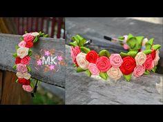 Обруч з маленькими крученими трояндами з атласної стрічки.D.I.Y. Rose of... Diy Baby Headbands, Diy Headband, Flower Headbands, Ribbon Hair Bows, Fabric Ribbon, Ribbon Rose, Ribbon Flower Tutorial, Hair Bow Tutorial, Nylon Flowers