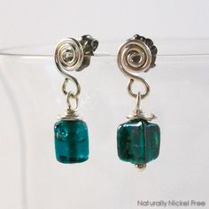 f85e09de3 Green Glass Argentium Spiral Drop Post Earrings, by Naturally Nickel Free  Wire Art, Sensitive