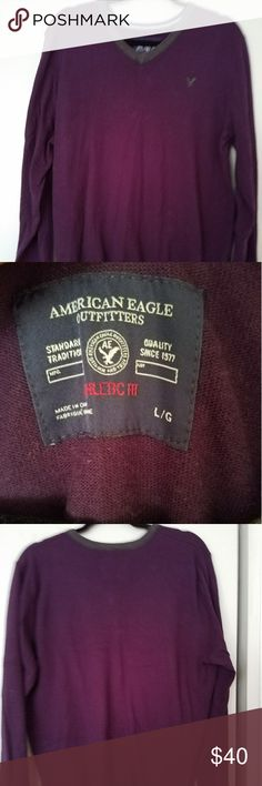 fine-knit worn once, comfortable,100% cotton. American Eagle Outfitters Sweaters V-Neck