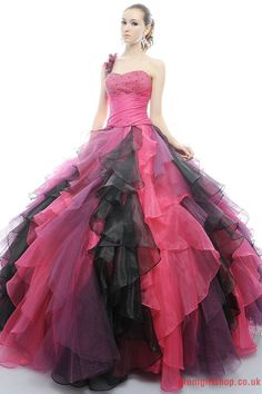 Ball gown one-shoulder sweetheart beading red black chiffon Quinceanera Dresses PGQD0021