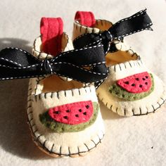 Soft sole baby shoes hand appliqued watermelon