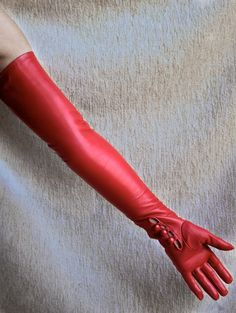Dents long red leather opera gloves
