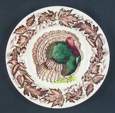Royal Staffordshire Clarice Cliff turkey platter...see Internet Rug Camp 6.27.13 entry for great hooked turkey platter mat by V. Sharmay