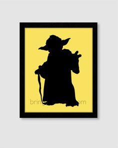 Star Wars Yoda Silhouette Wall Art Print 8X10 for boys room on Etsy, $14.00