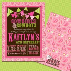 perfect for pony party birthydays or cowgirl parties  DIY Printable doublesided Cowgirl Birthday by marcylauren on Etsy, $20.00
