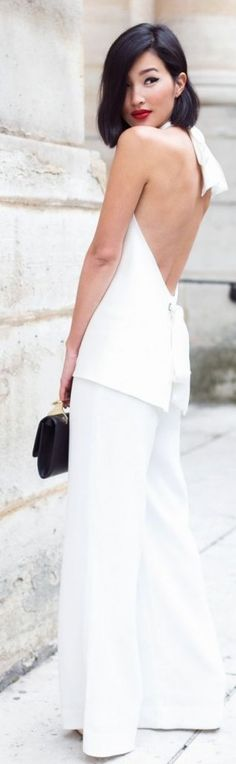 what low back tank top and white pants.  Dîner en Blanc Style | Divine Style