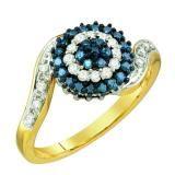 Share 0.50 Carat (ctw) 10k Yellow Gold Round Blue & White Diamond Ladies Cluster Ring - Dazzling Rock #https://www.pinterest.com/dazzlingrock/