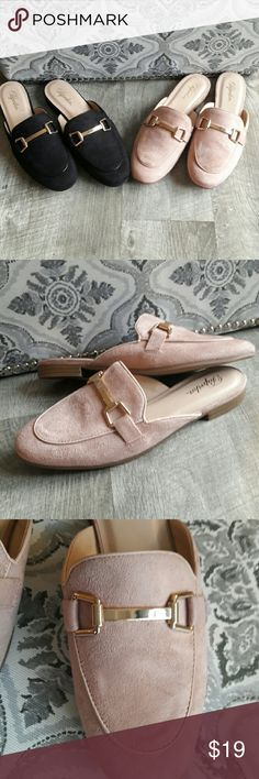 NEW. Sz 7. Blush Suede Mules w/Horsebit Detail New. Never worn. Blush color. Gold horsebit detail. Sz 7. I also have the same shoe in black buy both in bundle to save😉. Shoes Mules & Clogs