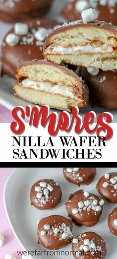 Chocolate Covered S'Mores Cookies Love the taste of s'mores? You'll love these chocolate covered s'mores cookies come together easily with nilla wafers, marshmallows, and chocolate chips! Delicious Cookie Recipes, Holiday Cookie Recipes, Cookie Desserts, Just Desserts, Dessert Recipes, Cookie Ideas, Holiday Cookies, Candy Recipes, Holiday Baking