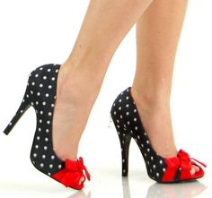 Retro Black Polka Dot Red Bow High Heel Shoes