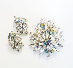 Austria Rhinestone Brooch Earrings Ice Aurora by zephyrvintage
