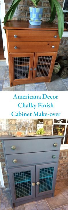 Chalky Finish paint gives new life to a cabinet destined for the curb. Now, it makes the perfect outdoor bar.