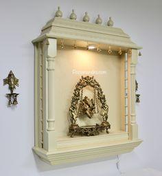 Pooja Mandirs USA - Vishaka Collection - Wall Hanging Mandirs Wooden Temple For Home, Temple Design For Home, Pooja Room Door Design, Foyer Design, Wooden Door Design, Wooden Doors, 3d Chess, Mandir Design, Pooja Mandir