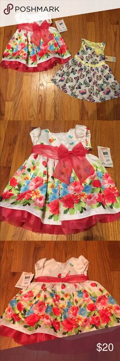 2 NWT girls dresses 12 months! Perfect for summer! 2 new with tags dresses in 12 months. One with butterflies and the other floral. Smoke free and pet free home! Open to OFFERS! Bundle and save, more girls clothing listed and free with purchase items! Dresses Formal