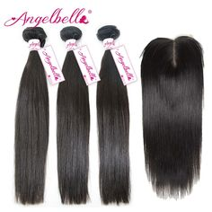 232.90$  Buy now - http://alixn7.worldwells.pw/go.php?t=32717701666 - Angelbella Brazilian Hair Bundles with Closure Unprocessed Human Hair Extensions Weave 3 Bundles Virgin Hair Deals with Closure