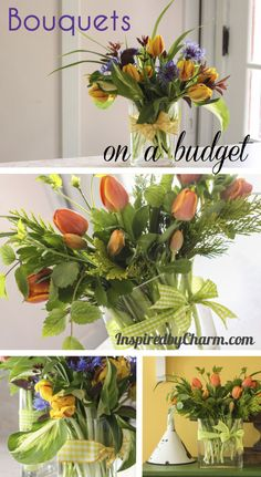 Bouquets on a Budget -- Floral arrangements made easy using a five dollar bunch of tulips and greenery from your yard. This easy tutorial will forever save you from buying overpriced flower arrangements for your home. Tutorial via Inspired by Charm