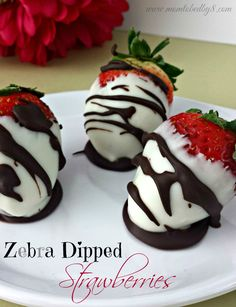 Zebra Dipped Strawberries pair with moscato for a romantic evening for two or Girls Night Out.