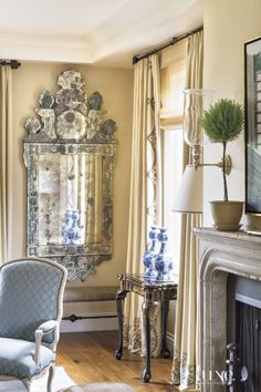 Traditional Neutral Living Room with Venetian Mirrors