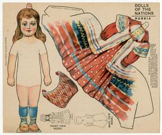 American paper doll, Dolls of the Nations: Russia, by J.V. Sloan Boston Sunday Globe, circa 1909.