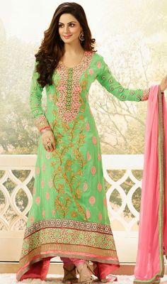 Honeydew Georgette Embroidered Churidar Suit