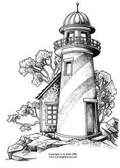 Image result for traceable wood burning lighthouse templates