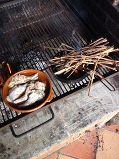 Conejo de corral, con una salmuera de 24 horas , y marinado con aceite de oliva, romero , ajo, y piel de naranja. Asado con sarmientos.