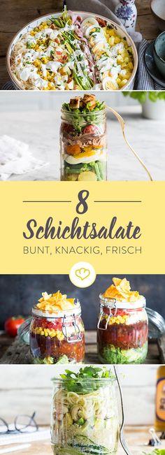Schichtsalate sind dir zu retro? Dann alles zurück auf Anwang, Salatschüssel abstauben und neu schichten: Diese 8 knackigen Salate stimmen dich um!