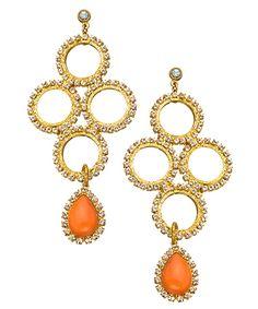 Liz Palacios Orange Caboche Teardrop and Diamond Circle Chandelier Earrings #maxandchloe