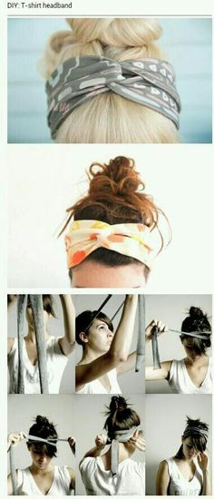 DIY T-shirt headband- no sewing, just cut and tie! DIY headband:: DIY projects:: Home-made Accessories