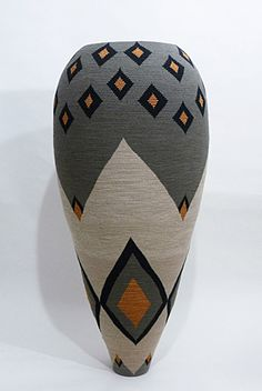 Basketry, Pamela Becker, Artist, Black and Gold Diamond Basket, 2011, reed, rayon, silk, 42 x 19.5 x 19.5 in.