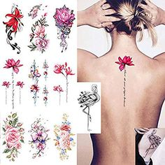 Lainrrew 10 Sheets Flower Temporary Tattoo Stickers, Elegant Body Tattoo Waterproof Sexy Tattoo Sticker for Women Girl -- Check out the image by visiting the link. (As an Amazon Associate I earn from qualifying purchases) Body Tattoos, Sleeve Tattoos, Temporary Tattoo Sleeves, Body Makeup, Watercolor Techniques, Stickers, Amazon, Elegant, Link
