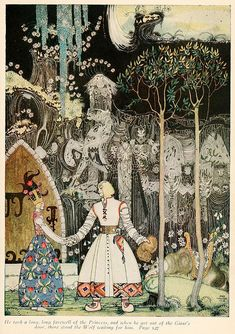 An illustration by Kay Nielsen for The Giant Who Had No Heart in His Body, from the collection of fairy tales East of the Sun, West of the Moon. Nielsen is an outstanding artist, and his illustrations have a very strange, enticing quality to them. Kay Nielsen, Art And Illustration, Old Illustrations, Botanical Illustration, Cactus Illustration, Fantasy Kunst, Fantasy Art, Illustrator, East Of The Sun