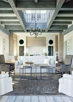 What an interesting ceiling and i like the nesting coffee tables. georgianadesign: Summerour Interiors and Beth Webb Interiors in the Atlanta Homes Lifestyles Designer Showhouse, South Carolina. Interior Design Blogs, Interior Design Inspiration, My Living Room, Home And Living, Living Spaces, Living Area, Style At Home, Atlanta Homes, Piece A Vivre