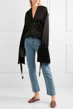 Newbark corduroy slippers / loafer mules + Georgia Alice bell sleeve satin blouse + current/elliott high rise straight leg cropped jeans