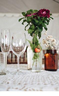 Farm Style Wedding flower decorations    Photographer: Jean-Laurent Gaudy   Flowers: Adriette & Jomeri