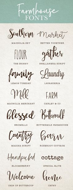Created by My go to farmhouse fonts for DIY projects, brandi. - Created by My go to farmhouse fonts for DIY projects, brandi… - Fancy Fonts, Cool Fonts, Artsy Fonts, Simple Fonts, Creative Fonts, Farmhouse Font, Letras Cool, Cricut Fonts, Silhouette Cameo Projects