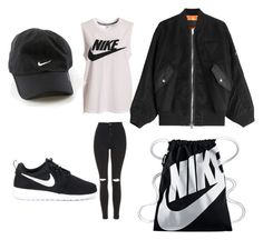 """NIKE TOLD ME TO DO IT"" by leah3000 ❤ liked on Polyvore featuring NIKE, Topshop and Alexander Wang"