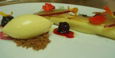 one spoon quenelle: sous vide peaches, cream filled crepes, black pepper croquant, fennel fronds