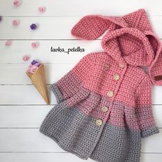 Discover thousands of images about ione ribeiro rocumback Cardigan Bebe, Crochet Baby Cardigan, Crochet Coat, Baby Girl Crochet, Crochet Baby Clothes, Crochet Jacket, Crochet For Kids, Diy Crochet, Baby Pullover