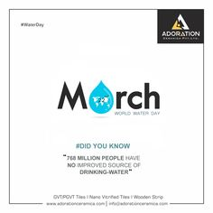 768 MILLION PEOPLE HAVE NO IMPROVED SOURCE OF DRINKING-WATER. . #worldwaterday #waterday2018 #savewater  #adorationceramica #600x600mm #gvt #pgvt #Adoration #ceramica #floordecor #architecture #floortiles #morbi #Adorationcollections #glazedvitrifiedtiles #vitrifiedtiles #nanotiles #tiles #manufacturer #exporter #tilesexporter #ceramic #TilesOfIndia #newcollection2018 #BestTiles #HouseTiles #bestProducts #Luxury #homedecor Guitar Posters, Diy Wall Painting, Vitrified Tiles, Ganesha Painting, March Born, Tile Manufacturers, World Water Day, House Tiles, Indian Festivals
