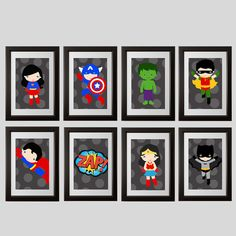 adorable modern super hero childrens wall art prints, 12 choices, set of (3) 8x10 prints, shipped to your door