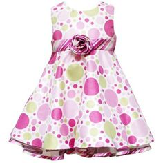 e78055e52f3 Amazon.com  Size-24M RRE-52932E 2-Piece PINK GREEN MULTI  Bubble Dot   SHANTUNG Special Occasion Wedding Flower Girl Easter Party Dress