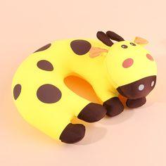 Vaca Animal bebê travesseiro U travesseiro de pescoço amarelo almofadas de…